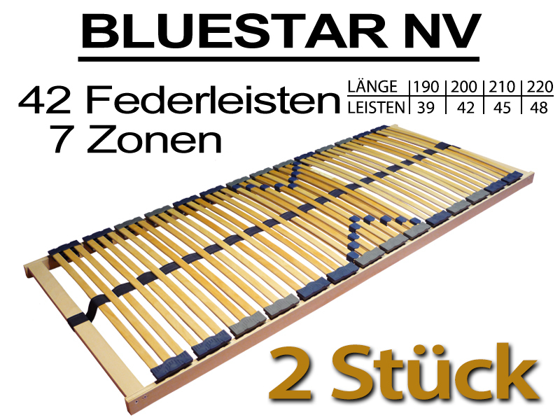 2 st ck 7 zonen lattenrost 70x200 bluestar 42 f nv 2x. Black Bedroom Furniture Sets. Home Design Ideas